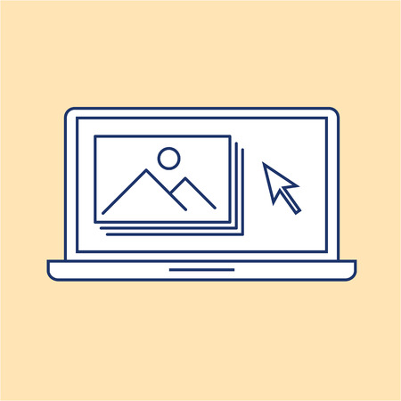 editing picture in photo editor software on laptop photography vector linear icon and infographic | illustrations of gear and equipment for professional photographers and amateurs isolated on yellow background Illustration