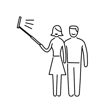 mirrorless camera: couple making selfie together with stick vector photography and camera linear icon and infographic | illustration of gear and equipment for professional photographers and amateurs black isolated on white background Illustration