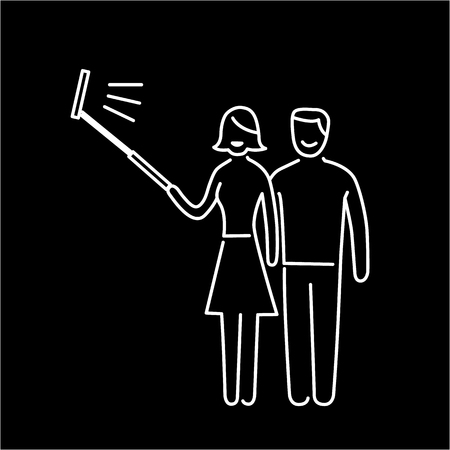 digicam: couple making selfie together with stick vector photography and camera linear icon and infographic | illustration of gear and equipment for professional photographers and amateurs white isolated on black background