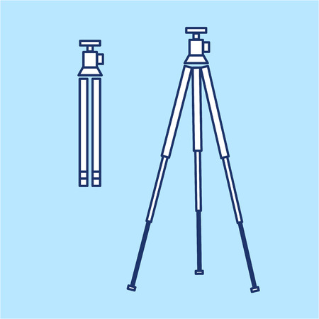 cf: vector tripod linear icon for photography and camera and infographic | illustrations of gear and equipment for professional photographers and amateurs isolated on blue background