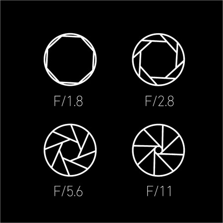 polarizing: set of vector shutter or aperture in photography and camera linear icon and infographic | illustrations of gear and equipment for professional photographers and amateurs white isolated on black background Illustration