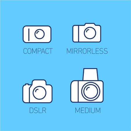 digicam: camera and photography systems from compact to mirrorless, dslr and medium format vector linear icon and infographic | illustrations of gear and equipment for professional photographers and amateurs isolated on blue background