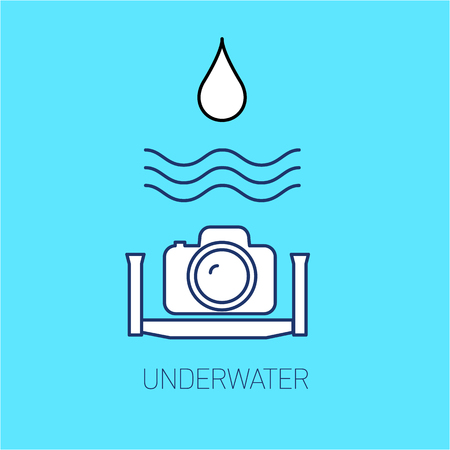 mirrorless camera: vector underwater photography and camera linear icon and infographic | illustrations of gear and equipment for professional photographers and amateurs isolated on blue background