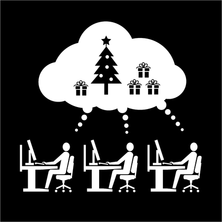 business space: Vector icon of employees working thinking and dreaming about christmas tree and gifts in open space office | white flat design business pictogram illustration and infographic isolated on black background Illustration
