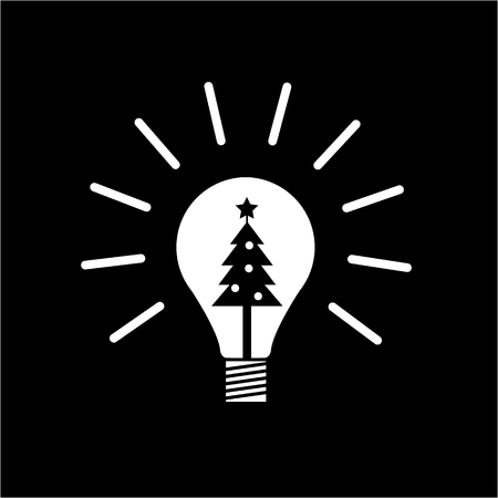 new idea: Vector new idea bulb icon with christmas tree inside | white flat design pictogram illustration and infographic isolated on black background