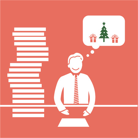 procrastination: Vector icon of christmas procrastination businessman thinking about christmas in office | white flat design pictogram illustration and infographic isolated on red background Illustration