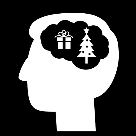 christmass tree: Christmas in brain head full of gift and christmass tree vector icon | white flat design pictogram illustration and infographic isolated on black background Illustration