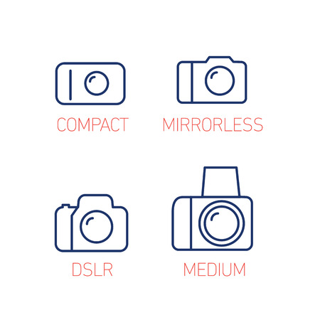 camera and photography systems from compact to mirrorless, dslr and medium format vector linear icon and infographic | illustrations of gear and equipment for professional photographers and amateurs blue and red isolated on white background Illustration