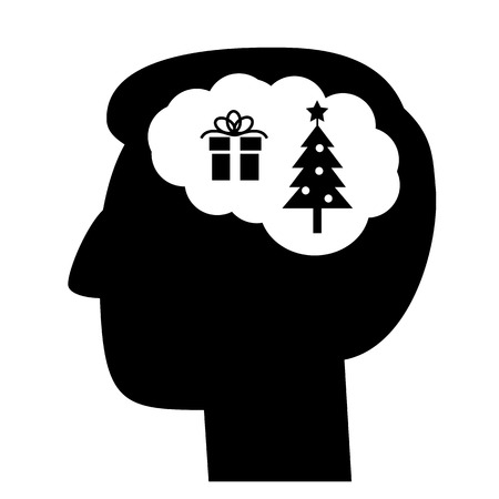 christmass: Christmas in brain head full of gift and christmass tree vector icon | black flat design pictogram illustration and infographic isolated on white background