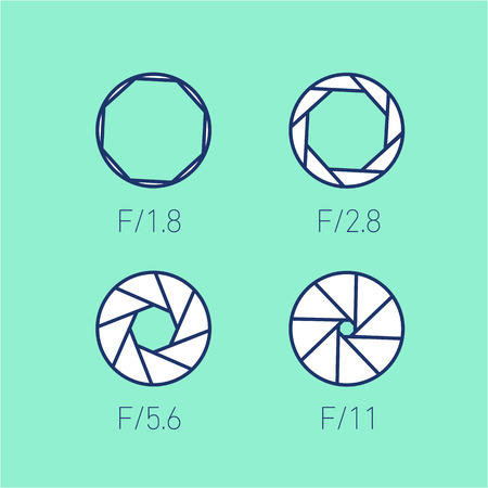 mirrorless camera: set of vector shutter or aperture in photography and camera linear icon and infographic | illustrations of gear and equipment for professional photographers and amateurs isolated on green background