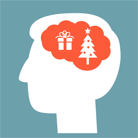 christmass tree: Christmas in brain head full of gift and christmass tree vector icon | white flat design pictogram illustration and infographic isolated on blue background Illustration