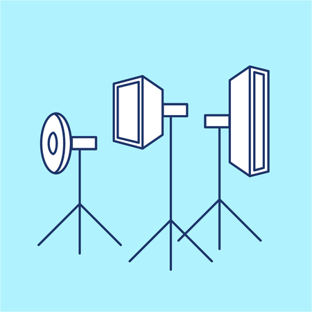digicam: vector photography studio lighting equipment linear icon and infographic | illustrations of gear and equipment for professional photographers and amateurs isolated on blue background