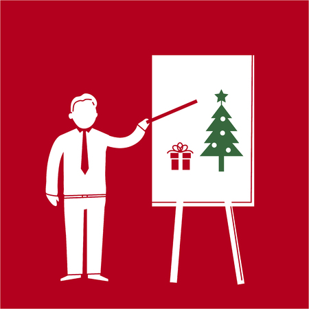 office presentation: Vector icon of businessman presenting christmas tree and gift on board | white flat design pictogram illustration and infographic isolated on red background