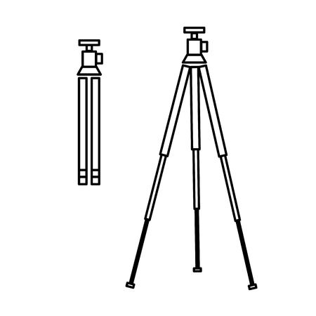 digicam: vector tripod linear icon for photography and camera and infographic | illustrations of gear and equipment for professional photographers and amateurs black isolated on white background