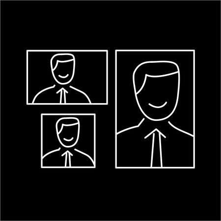 vector photography portrait canvas cropping formats linear icon and infographic | illustrations of gear and equipment for professional photographers and amateurs white isolated on black background