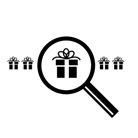 Searching for christmas gift with magnifying glass vector icon | black flat design pictogram illustration and infographic isolated on white background