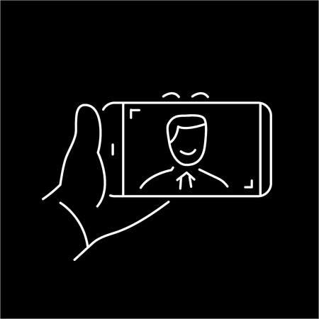 mirrorless camera: selfie gesture on smartphone or camera with one hand vector linear icon and infographic | illustration of gear and equipment for professional photographers and amateurs white isolated on black background