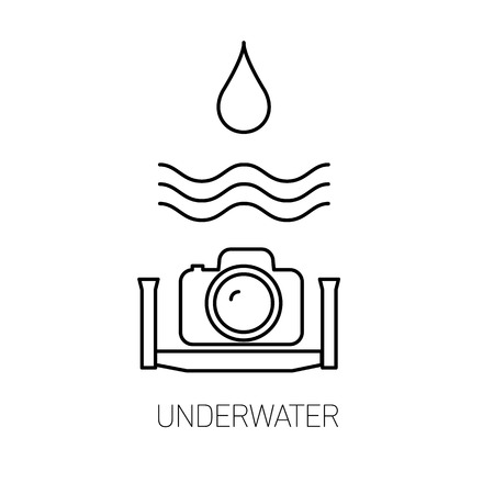 vector underwater photography and camera linear icon and infographic | illustrations of gear and equipment for professional photographers and amateurs isolated black on white background