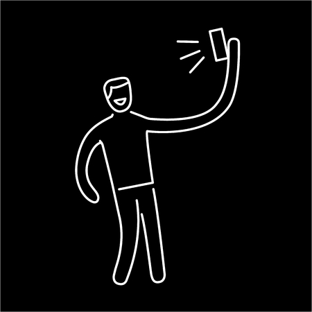digicam: man making selfie with one hand with smartphone or camera vector photography and linear icon and infographic | illustration of gear and equipment for professional photographers and amateurs white isolated on black background