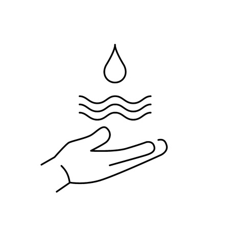 antipollution: Drop of water in hand ecology and environment vector icon and infographic black on white background Vectores
