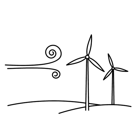 Wind turbine ecology and environment vector icon and infographic black on white background Illustration