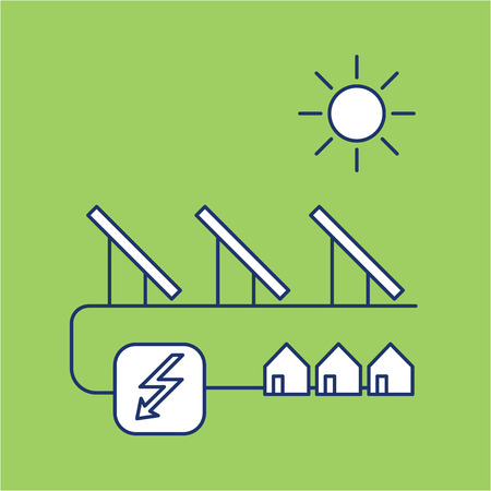 antipollution: Solar energy system ecology and environment vector icon and infographic blue and white on green background