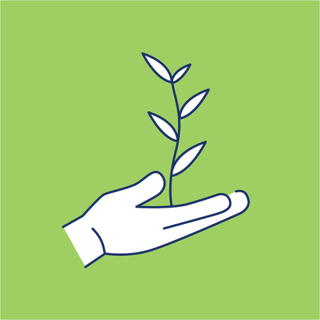 antipollution: Growing plant in hands ecology and environment vector icon and infographic blue and white on green background Illustration