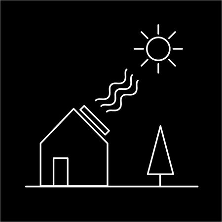 antipollution: Home solar panel energy ecology and environment vector icon and infographic white on black background Illustration