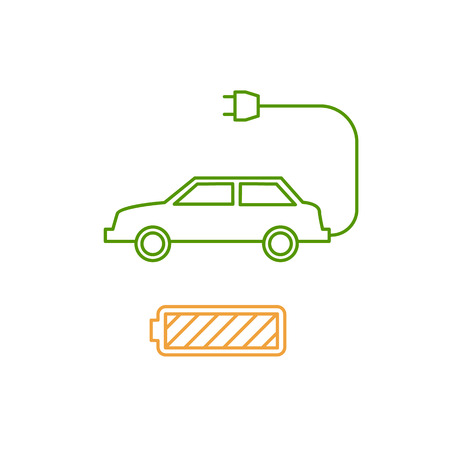 antipollution: Electric car and battery ecology and environment vector icon and infographic colorful on white background