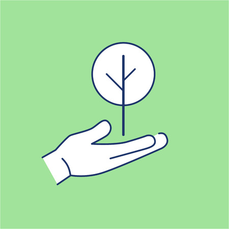 deciduous tree: Deciduous tree growing in hand ecology and environment vector icon and infographic blue and white on green background Vectores