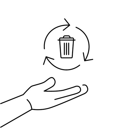 Recycle bin in hand gesture ecology and environment vector icon and infographic black on white background