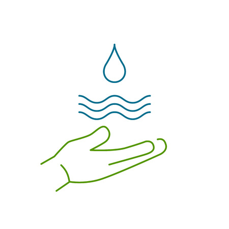 antipollution: Drop of water in hand ecology and environment vector icon and infographic colorful on white background