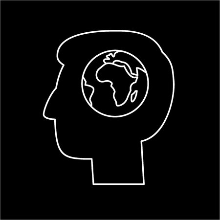 Globe in brain of human head ecology and environment vector icon and infographic white on black background