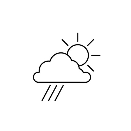 Sun with cloud and rain weather forecast ecology and environment vector icon and infographic blue on white background