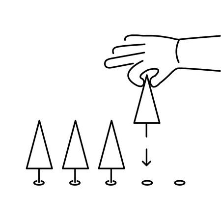 plantando arbol: Ecolog�a plantaci�n de �rboles de la mano y del icono del vector medio ambiente y negro infograf�a sobre fondo blanco Vectores