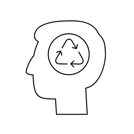 black man thinking: Man thinking about ecology recycling in head ecology and environment vector icon and infographic black on white background Illustration