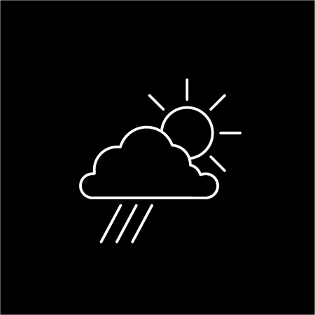 antipollution: Sun with cloud and rain weather forecast ecology and environment vector icon and infographic white on black background