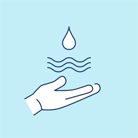 antipollution: Drop of water in hand ecology and environment vector icon and infographic blue and white on blue background