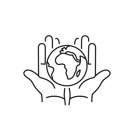 hands holding globe: Hands holding globe in palms ecology and environment vector icon and infographic black on white background Illustration