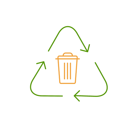 antipollution: Recycling symbol with trash bin in center ecology and environment vector icon and infographic colorful on white background