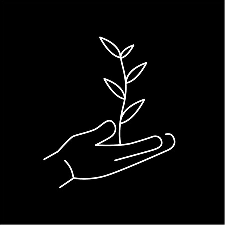 antipollution: Growing plant in hands ecology and environment vector icon and infographic white on black background