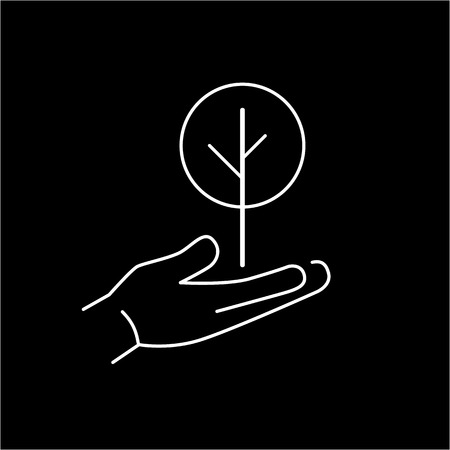 deciduous tree: Deciduous tree growing in hand ecology and environment vector icon and infographic white on black background