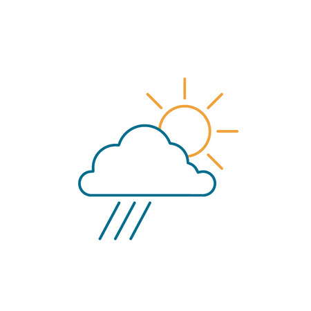 Sun with cloud and rain weather forecast ecology and environment vector icon and infographic colorful on white background