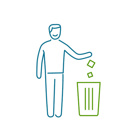 antipollution: Symbol with recycle bin and human ecology and environment vector icon and infographic colorful on white background Illustration