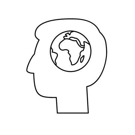 antipollution: Globe in brain of human head ecology and environment vector icon and infographic black on white background