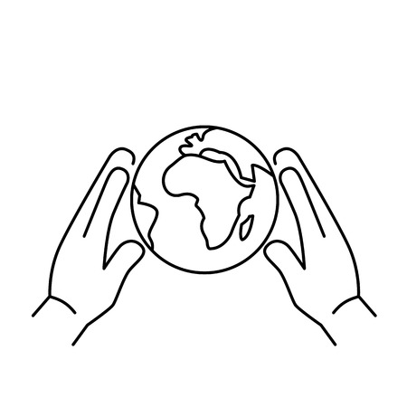 softly: Hands holding softly globe ecology and environment vector icon and infographic black on white background Illustration