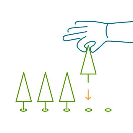 plantando arbol: �rbol de la mano plantaci�n ecolog�a y medio ambiente icono del vector y infograf�a colorido sobre fondo blanco Vectores