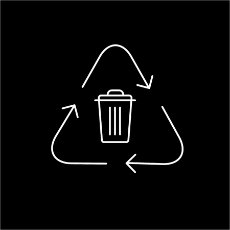antipollution: Recycling symbol with trash bin in center ecology and environment vector icon and infographic white on black background