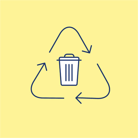 Recycling symbol with trash bin in center ecology and environment vector icon and infographic blue and white on yellow background