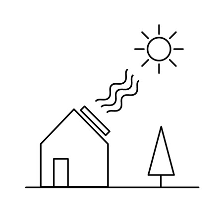 antipollution: Home solar panel energy ecology and environment vector icon and infographic black on white background Illustration